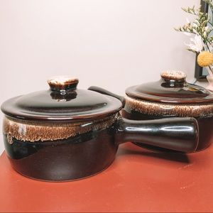 Vintage Kitchen - Vintage set of 2 black fondue bowls